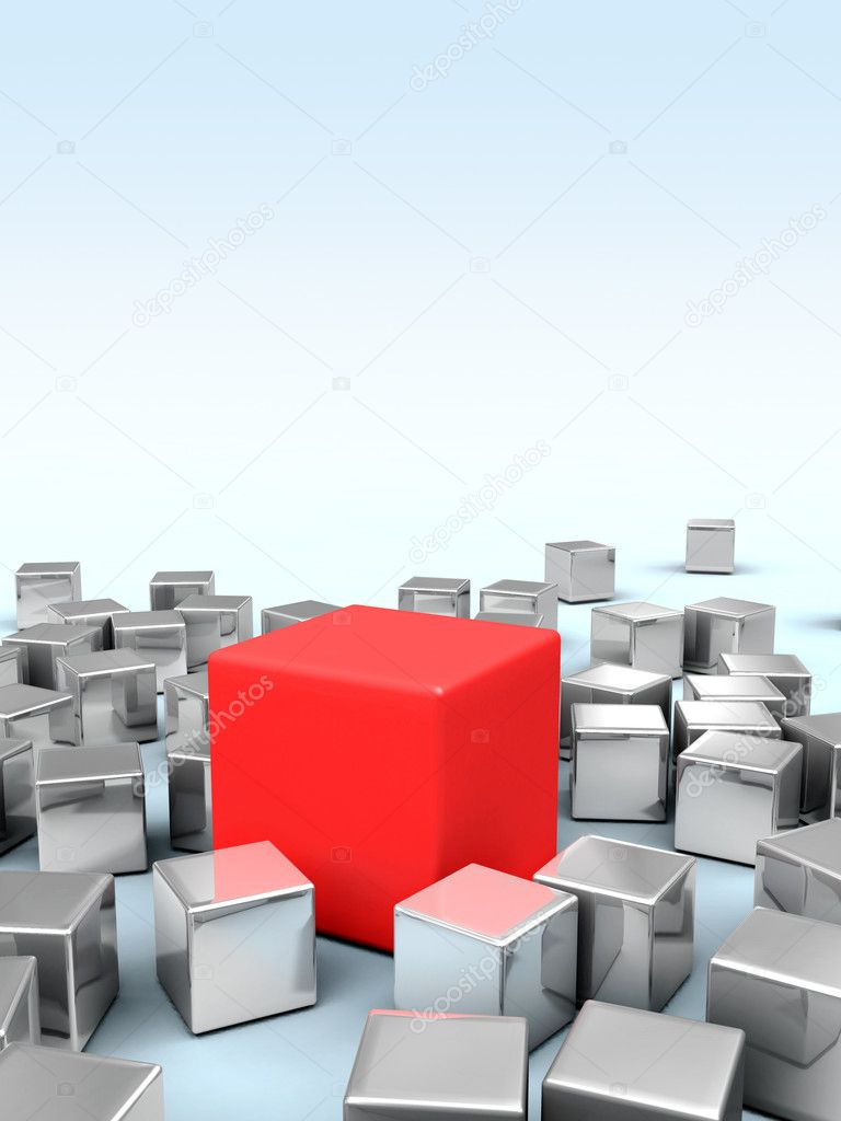 One big red cube stands in the middle of many smaller metallic cubes. Digital illustration.  Stock Photo #10256715