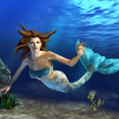 Swimming Mermaid - Stockfoto