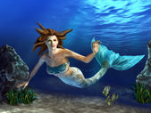 Swimming Mermaid — Stock Photo