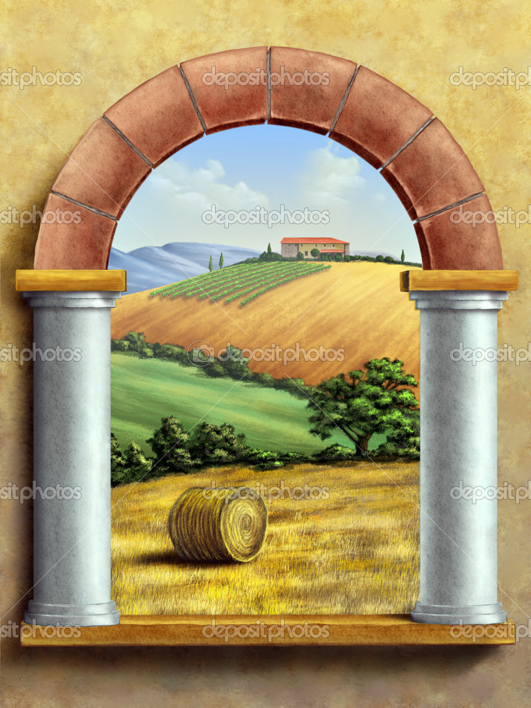 Beautiful tuscan landscape seen through a window. Hand painted digital illustration. — Stock Photo #10521041