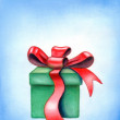 Red ribbon gift box - Stock Photo