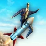 Flying businessman — Stock Photo