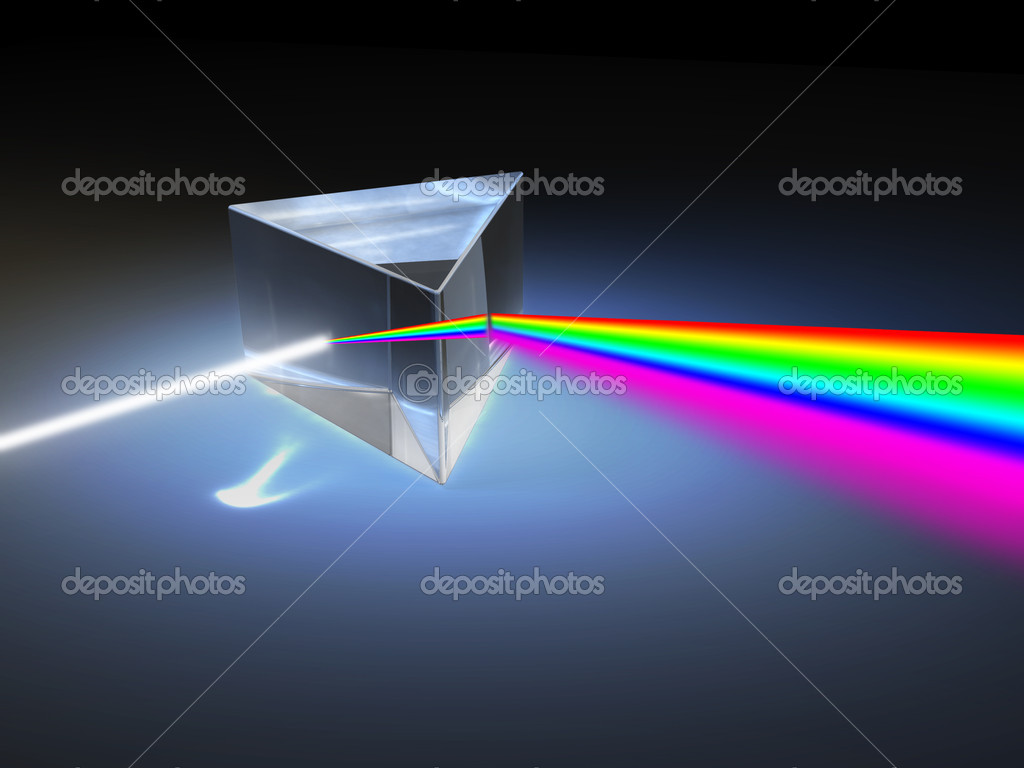 Optical prism refracting a ray of white light. Digital illustration. — Stock Photo #10661684