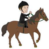 Horseback riding cartoon — Stock Vector