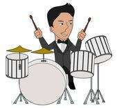 Drummer Cartoon — Stock Vector