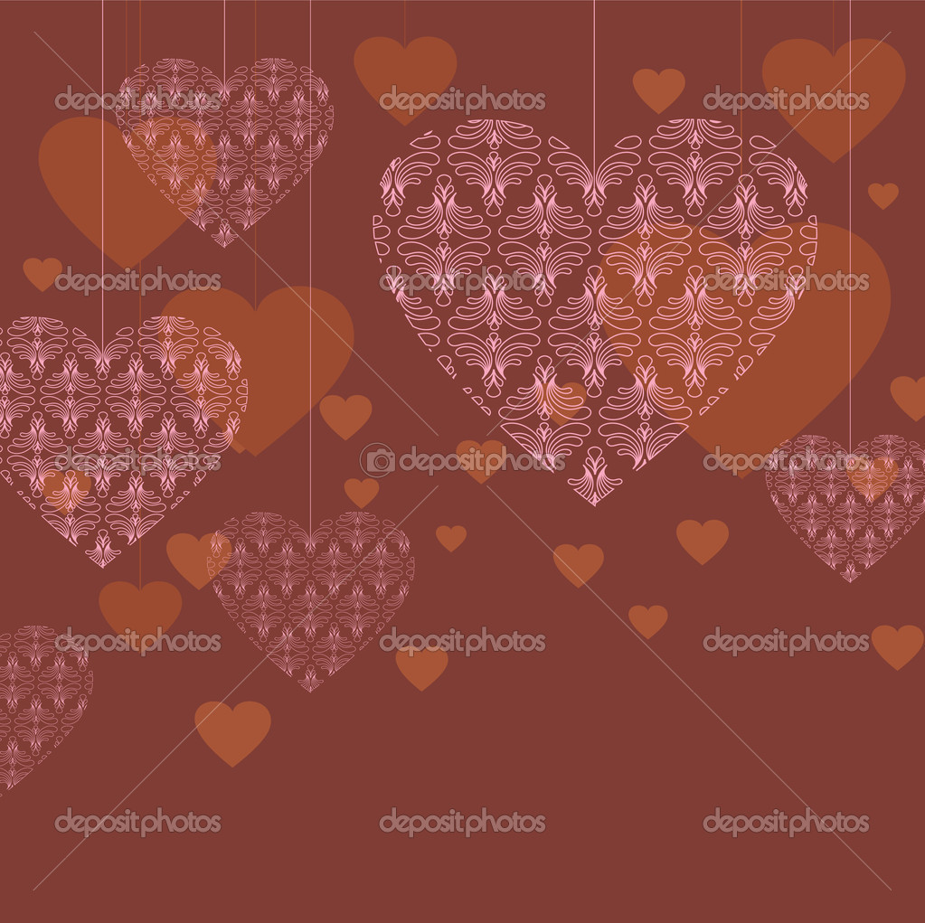 Vector valentine background with lace hearts — Stock Vector #8360716