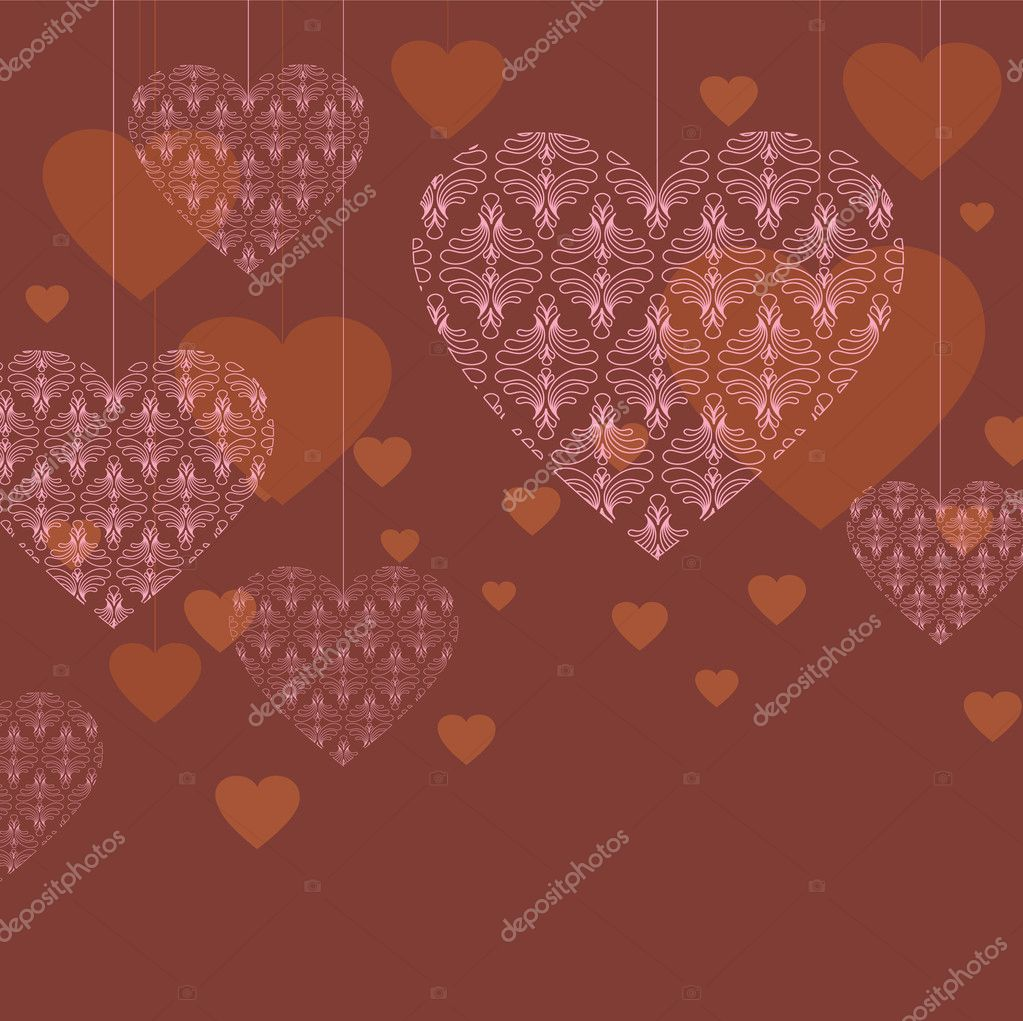 Vector valentine background with lace hearts — Image vectorielle #8360716