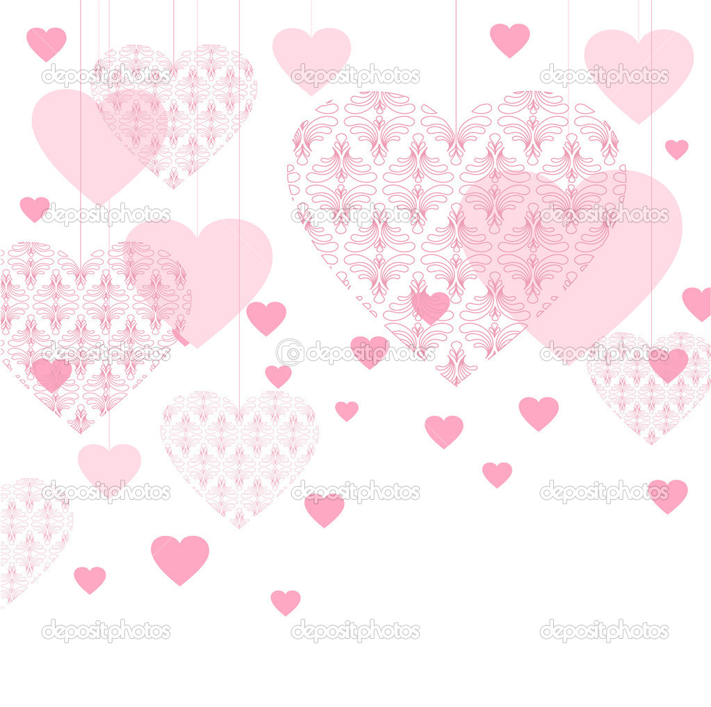 Vector valentine background with lace hearts  Stock Vector #8770207