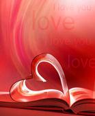 Libro abierto y el corazón — Foto de Stock