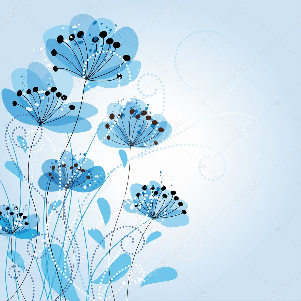 Blue Romantic Flower Background — Stock Vector #9225735
