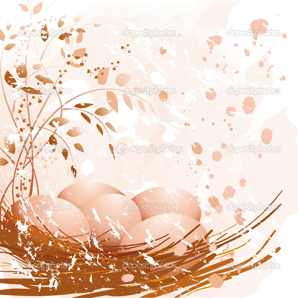 Pastel Easter eggs in the nest  Stock Vector #9384839