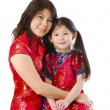 Asian mother and her daughter on white background — 图库照片