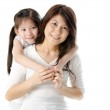 Asian mother and her daughter on white background, perfect for m — Stock Photo