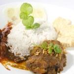 Nasi lemak traditional malaysian spicy rice dish — Stock Photo #9270798