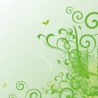 Green abstract vector nature style background with butterflies - Stock Photo