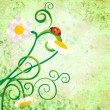 Red ladybird on daisy flowers grunge background — Stock Photo