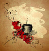 Koffiekopje, rode rozen en grunge achtergrond met hart — Stockfoto