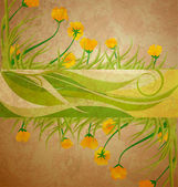 Yellow tulips banner on brown grunge background spring frame — Stock Photo