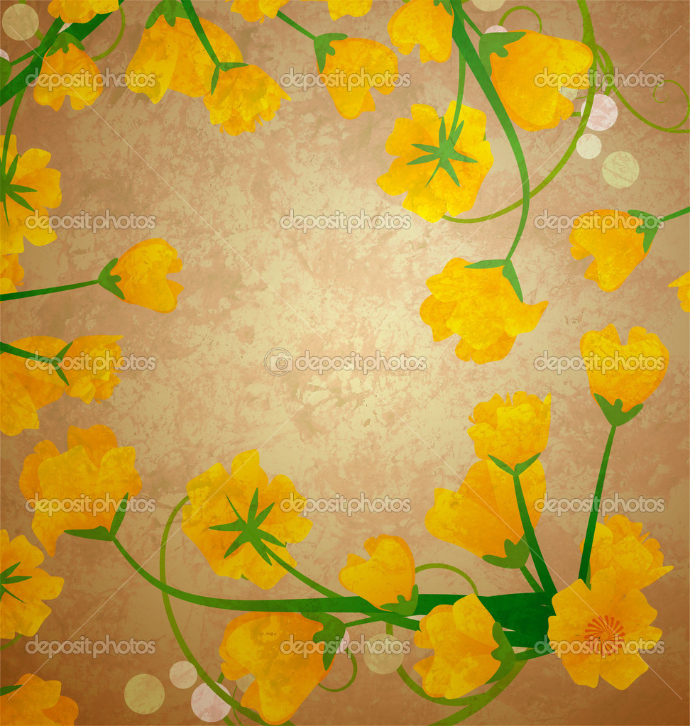 Yellow tulips grunge effect frame on old paper background — Stock Photo #10141939