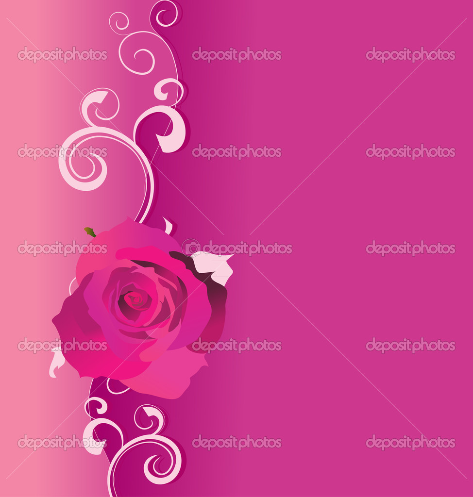 Pink vector background with roses and curves for love and wedding, romance illustration — Stock Photo #10141954