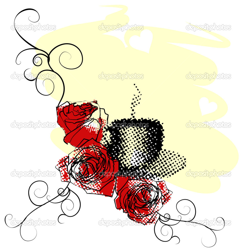 Abstract vector coffee cup with red roses on light yellow abstract bacground — Stock Photo #10142015
