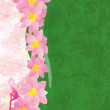 Grunge background with pink flowers and green texture with pink — Stock Photo #10358337