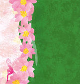 Grunge background with pink flowers and green texture with pink — Stock Photo