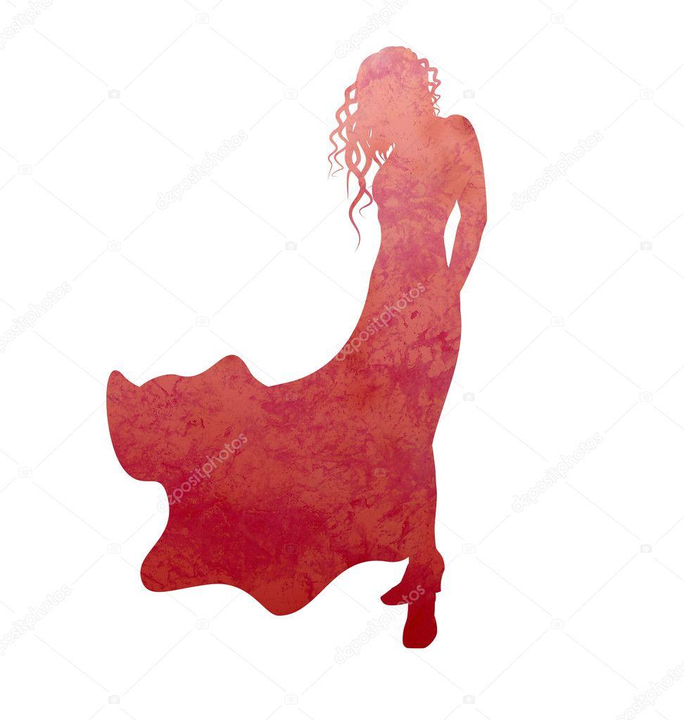 Женщины в платье силуэт 2
