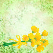 Yellow flowers with ribbon on grunge green watercolor background — Stock Photo #10373033