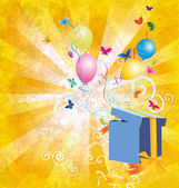 Backgroynd grunge luce gialla con scatola regalo, farfalle e ba — Foto Stock