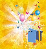 Grunge luz amarillo backgroynd con caja de regalo, mariposas y ba — Foto de Stock