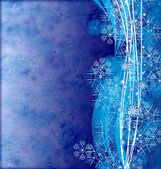 Abstract wbves with detailed snowflakes on the blue grunge backg — Stock Photo