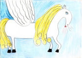 Child pencil draw golden and white flying horse in the blue sky — Stock Photo