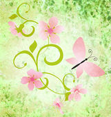 Spring or summer grunge background with butterflies and flowers silhouette — Stock Photo
