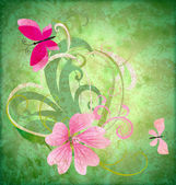 Spring butterfly and pink flower on grunge green background east — Stock Photo