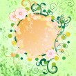 Grunge green spring frame with cosmos flowers and flourishes hol — Stock Photo