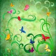 Stock Photo: Green grunge idebackground with flourishes and butterflies eas
