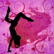 Modern urban dancing woman on the grunge pink hearts background — Stock Photo
