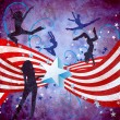 USA independence day dancing women grunge background with stars — Stock Photo