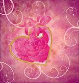 金心与 v 玫瑰花朵粉色组成 grunge 的想法 — 图库照片
