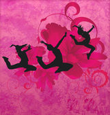 Three urban modern dancing women silhuettes on the red or pink g — Stock Photo