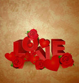 Love red text on brown old paper grunge background with hearts a — Stock Photo