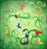 Green grunge idea background with flourishes and butterflies eas — Stock Photo