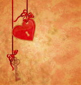 Grunge textured background with lock red heart and key hanging o — Stock Photo