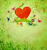 Rosso sentire, banner scorrimento, farfalle e fiori su gunge verde — Foto Stock