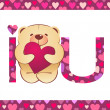 Teddy bear with heart and i love you text on white background wi - Stock Photo