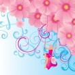 Young model in the sky on swings with pink flowers illustration — Lizenzfreies Foto