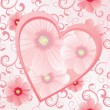 Royalty-Free Stock Photo: Pink heart with flowers on seamless background vector image