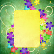 Stock Photo: Colorful flowers flourishes frame on green grunge background vin