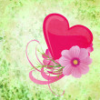 Stock Photo: Green grunge background with purple and pink heart and flowers
